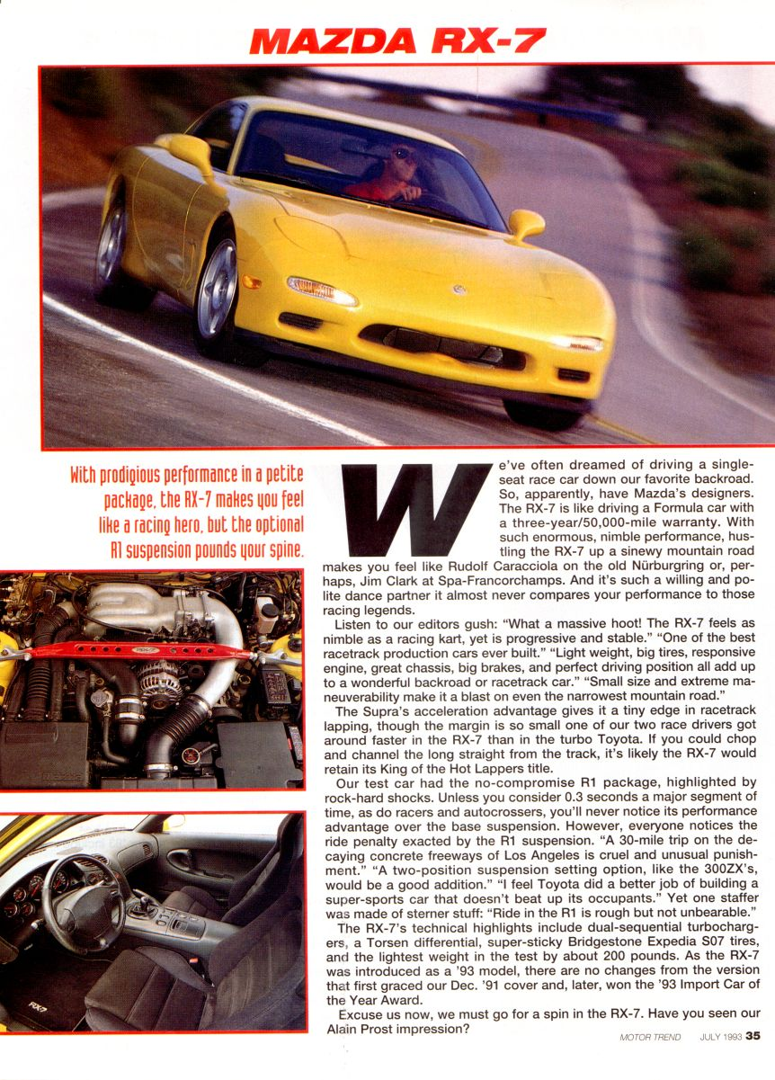 Motor trend supercar shootout july 1993 Motor tread